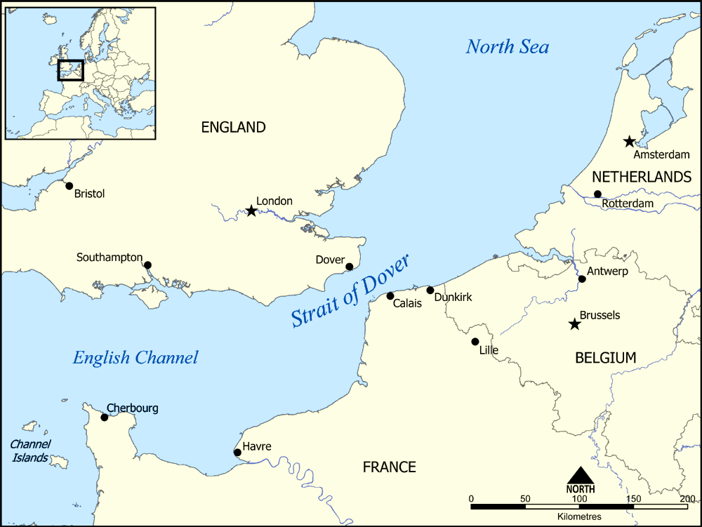 Map of modern day UK and surrounding seas, showing the Dover Straits between England and France