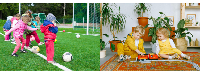 two images - first: children playing football, second: children sitting on carpet floor