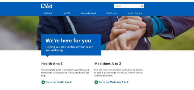 Screenshot of the NHS website homepage