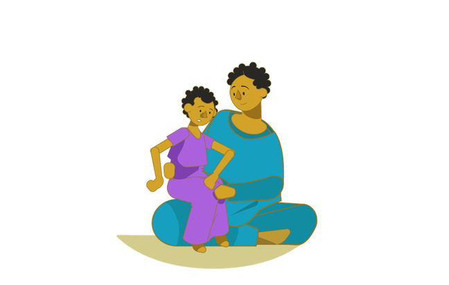 An illustration of a young girl is sitting on her mother's knee as the mother sits crossed legged on the ground