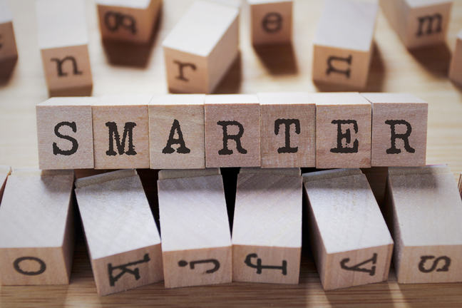 The word smarter on a set of wooden blocks
