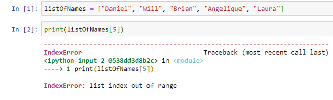 Index Out Of Range: screenshot of code showing a Python error generated when trying to reference the sixth name from a list of five names - IndexError: list index is out of range