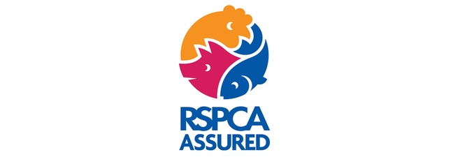 The RSPCA Assured logo is an abstract logo with an orange chicken head, pink pig head and blue fish intertwined together, with the wording RSPCA ASSURED underneath the symbol.