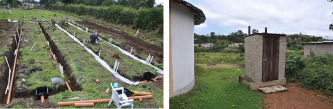 Percolation area being constructed for septic tank effluent in Ireland (left) and urine diversion toilet in South Africa (right)