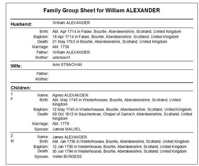 family group sheet example