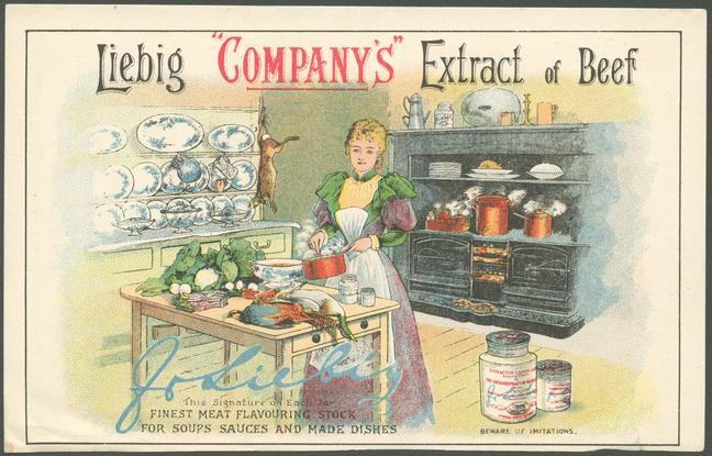 An advertisement featuring a drawing of a lady stirring a pan, standing within a kitchen