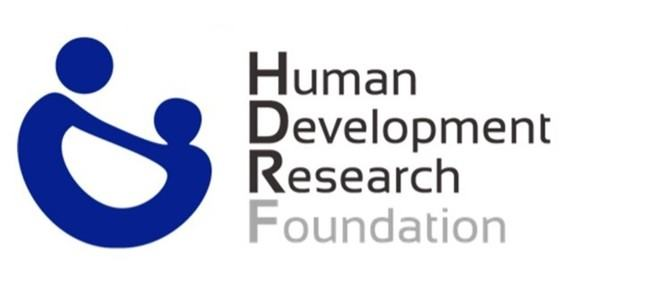 The logo of Human Development Research Foundation. Two abstract figures hold hands, alongside the name of the organisation
