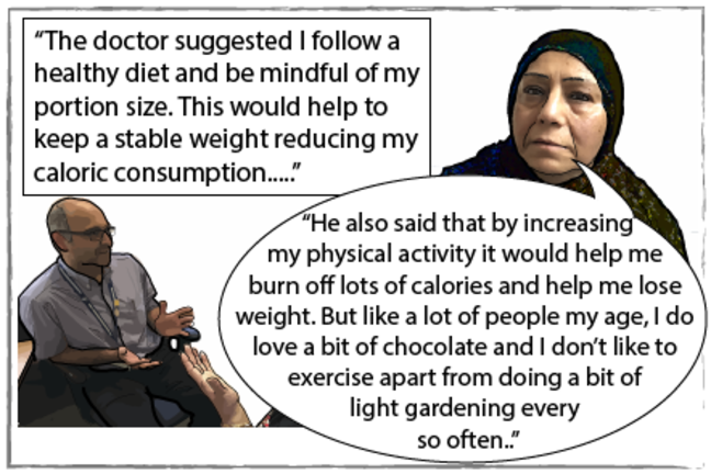 Comic strip of Seema told to follow healthy diet and increase physical activity