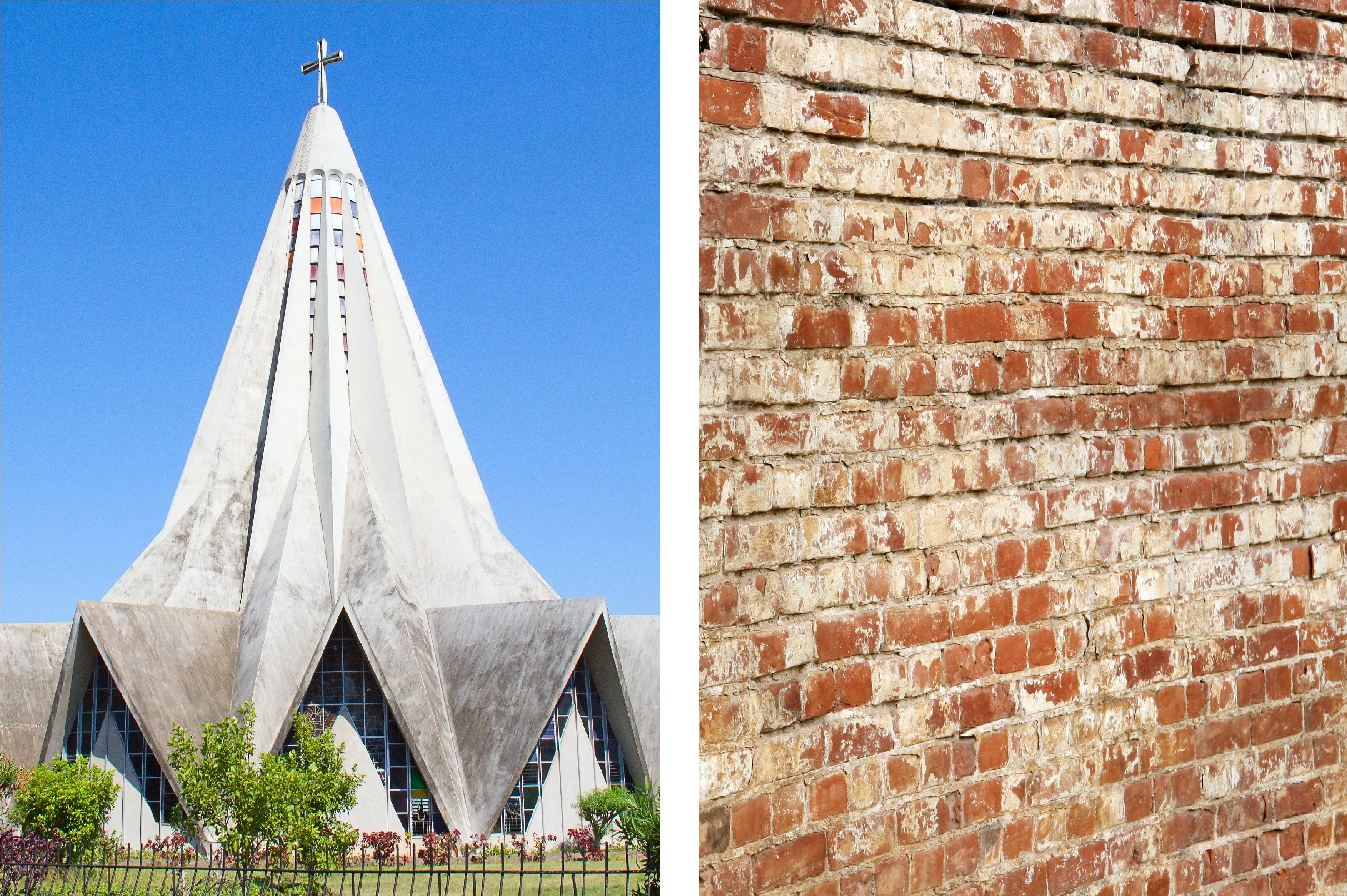 A cathedral and a brick wall