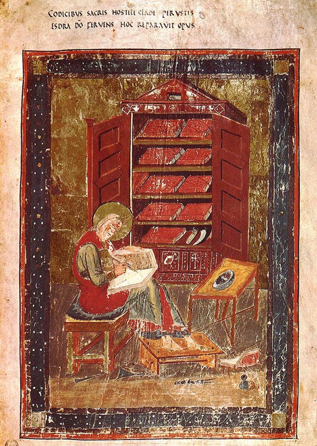 Figure 2, a manuscript depiction of a scribe at work