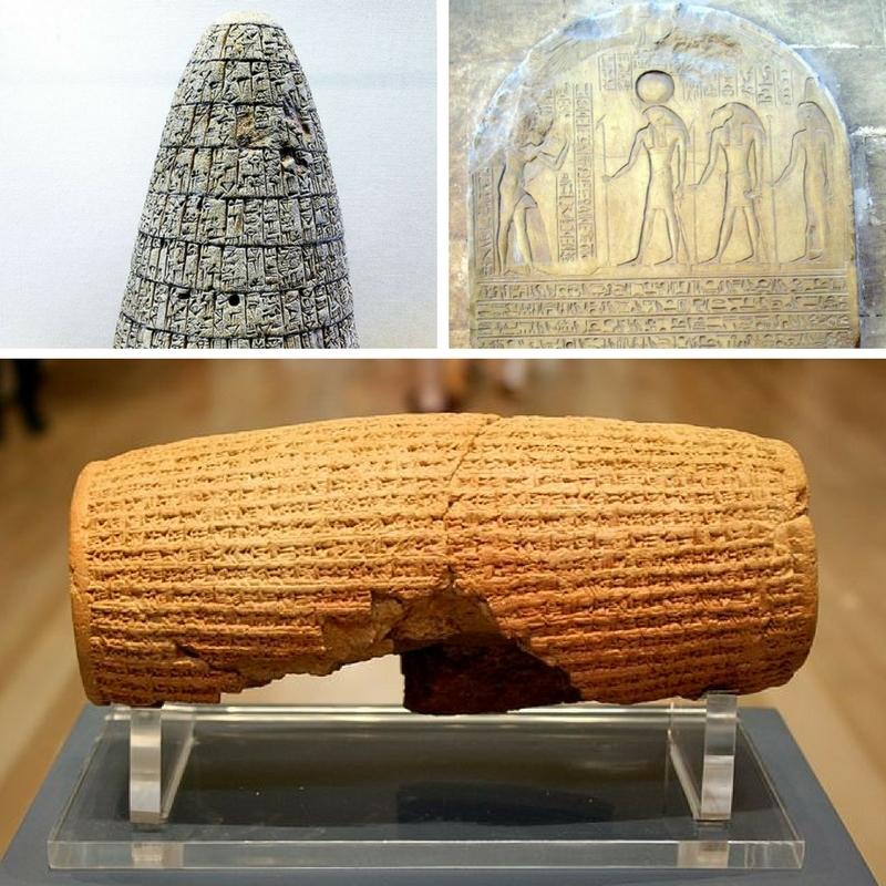 Engraved stones: Urukagina's code, Horemheb stela, Cyrus Cylinder