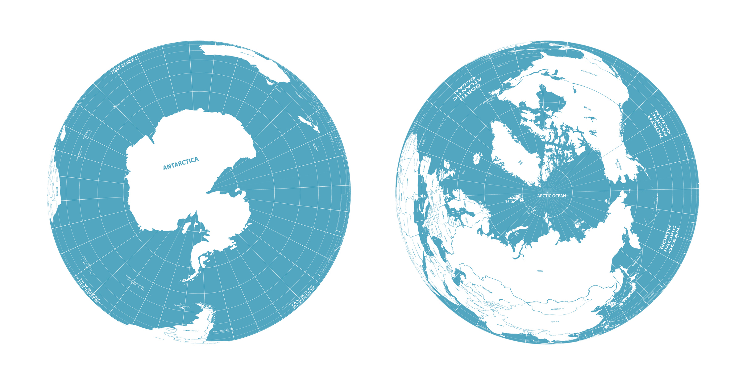 Globe Map Views of the Arctic and Antarctic. The Arctic is a frozen ocean and mostly surrounded by land. The Antarctic is different as it is an area of land surrounded by oceans.