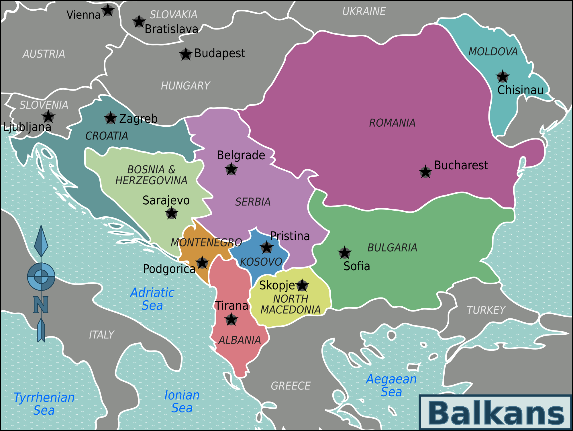Map: Balkans map in the nineties