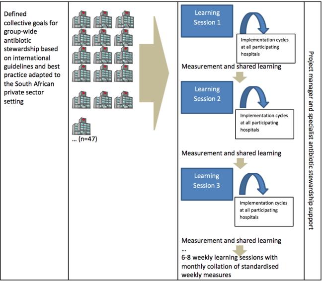 此图中显示了三个列。第 1 列描述根据南非私营部门环境中采用的国际指导原则和最佳实践确定集团级抗生素管理的整体目标的协作流程。第二列表明此声明与 Netcare 集团旗下的 47 家医院有关。第三列在蓝框中演示 3 次学习课程。.在三个课程中分别应用衡量和共享学习。