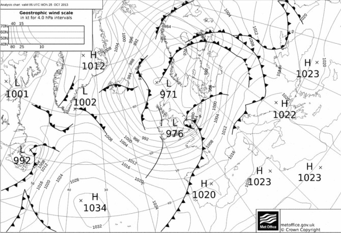 A black and white image of a weather front