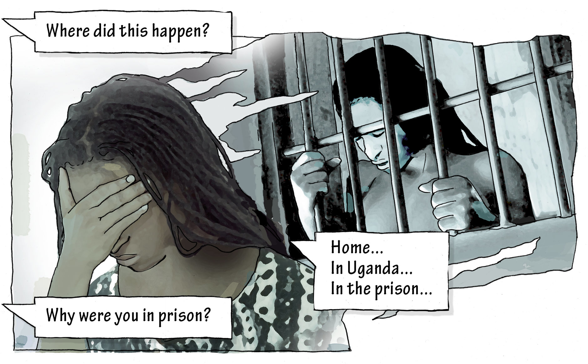 """Dr. Quereshi: Where did this happen? Peace: """"Home...In Uganda...In the prison..."""". Dr. Quereshi: Why were you in prison?"""