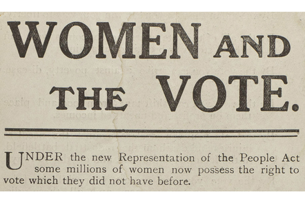 Women and the Vote Leaflet, 1918