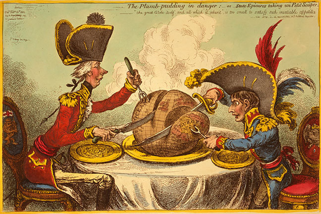 Cartoon from 1805 by James Gilray showing William Pitt the Younger and Napoloeon Bonaparte carving up the world between them.