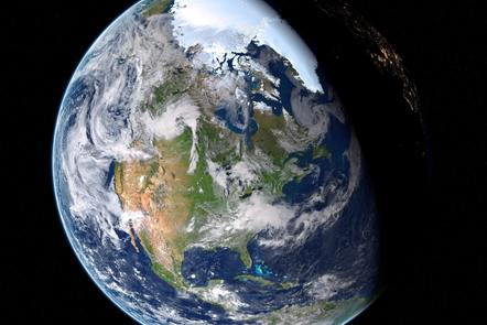 The Earth from the perspective of space focussing in on North America