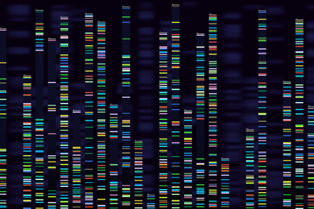 Genomic analysis visualization of the DNA genome sequencing.