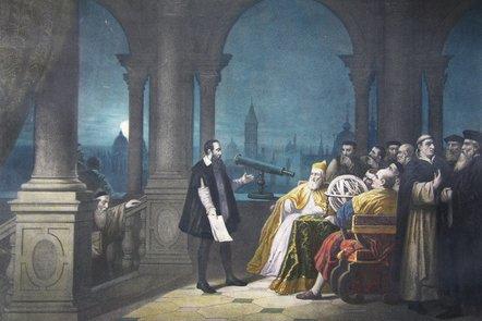 H. J. Detouche, Imaginative painting showing Galileo Galilei displaying his telescope to Leonardo Donato.