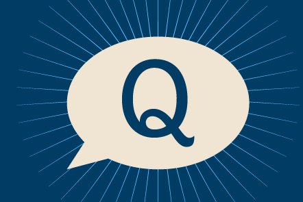 A speech bubble with the letter Q, signifying a question