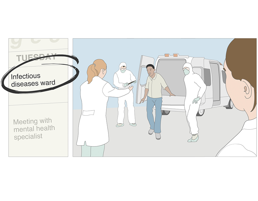 Illustration: At the infectious diseases ward: Health personnel wearing personal protective equipment receiving male refugee.