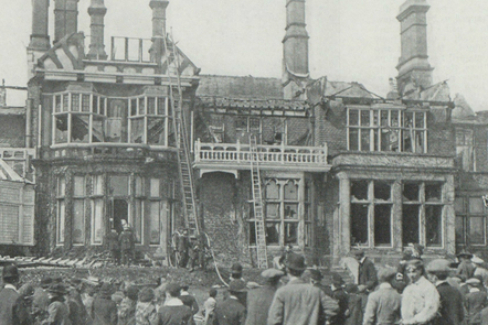 A building after a suffragette arson attack