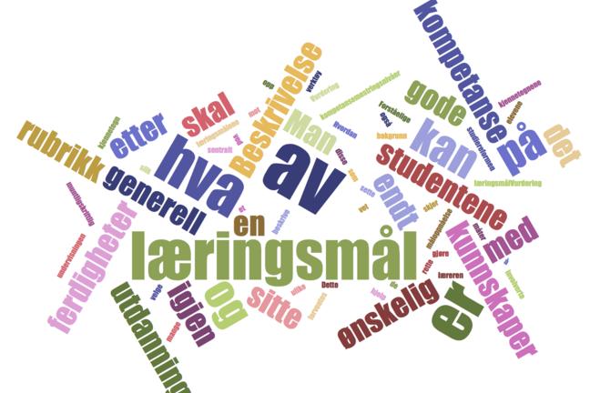 Læringsmål - Learning goals wordcloud