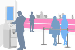 An illustration of customers in a bank, queuing up and using a cash machine