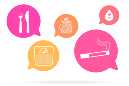 A series of speech bubbles containing items relating to health: a knife and fork, weighing scales, a cigarette, heart and drop of blood with plus and minus symbols.