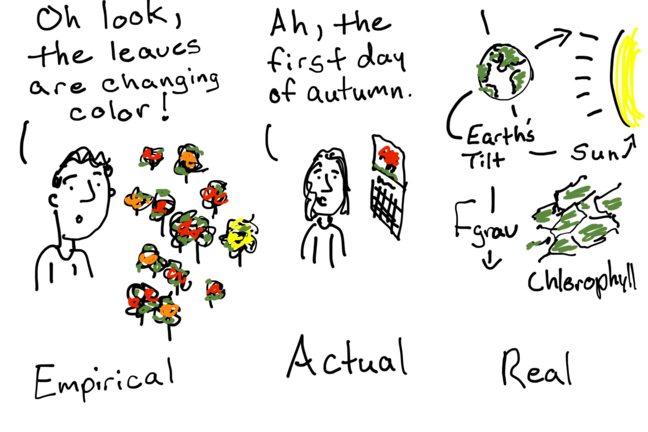 Cartoon depiction of Empirical, Actual, and Real scenarios, using the example of Autumn starting. Empirical - leaves are changing colour, Actual - using the calendar date, Real - the link between the Earth's tilt, the sun, chlorophyll.