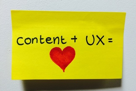 a post-it note saying 'content + UX = love'
