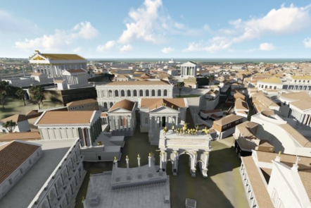 An aerial shot of the Fora as a digital model, showing the top of the Forum buildings.