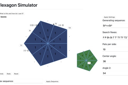 Screen shot of flexagonator program