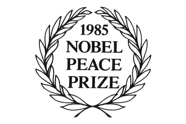 Logo of the The Nobel Peace Prize 1985, which was awarded to International Physicians for the Prevention of Nuclear War