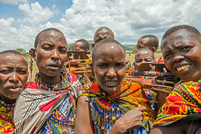 Maasai people in Kenya with traditional jewelry