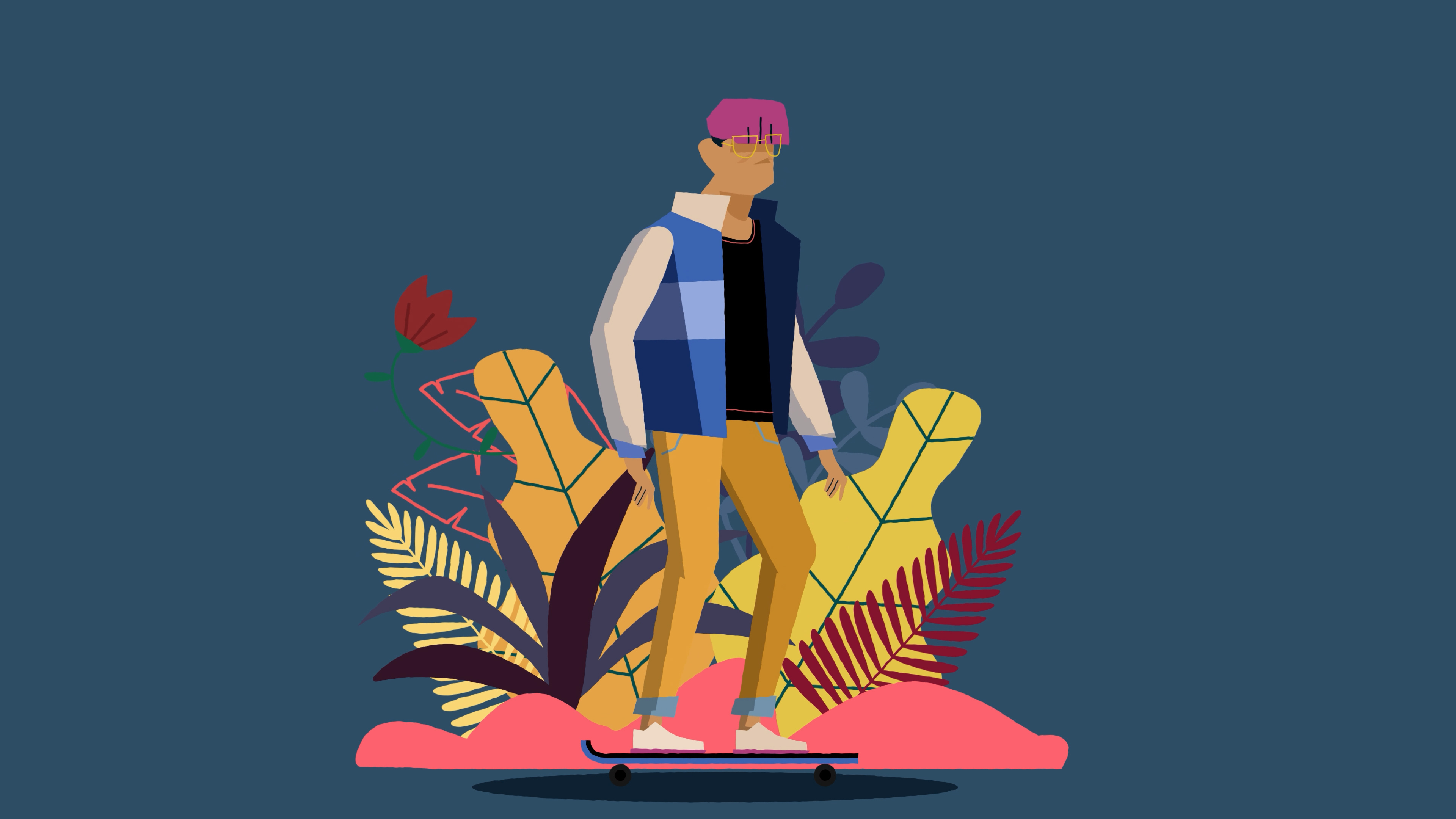 Drawing of a teenager standing on a skateboard