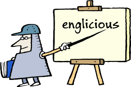 Illustration of a male medieval knight pointing to a sword to a  wooden easel. Text on the easel canvas says englicious.