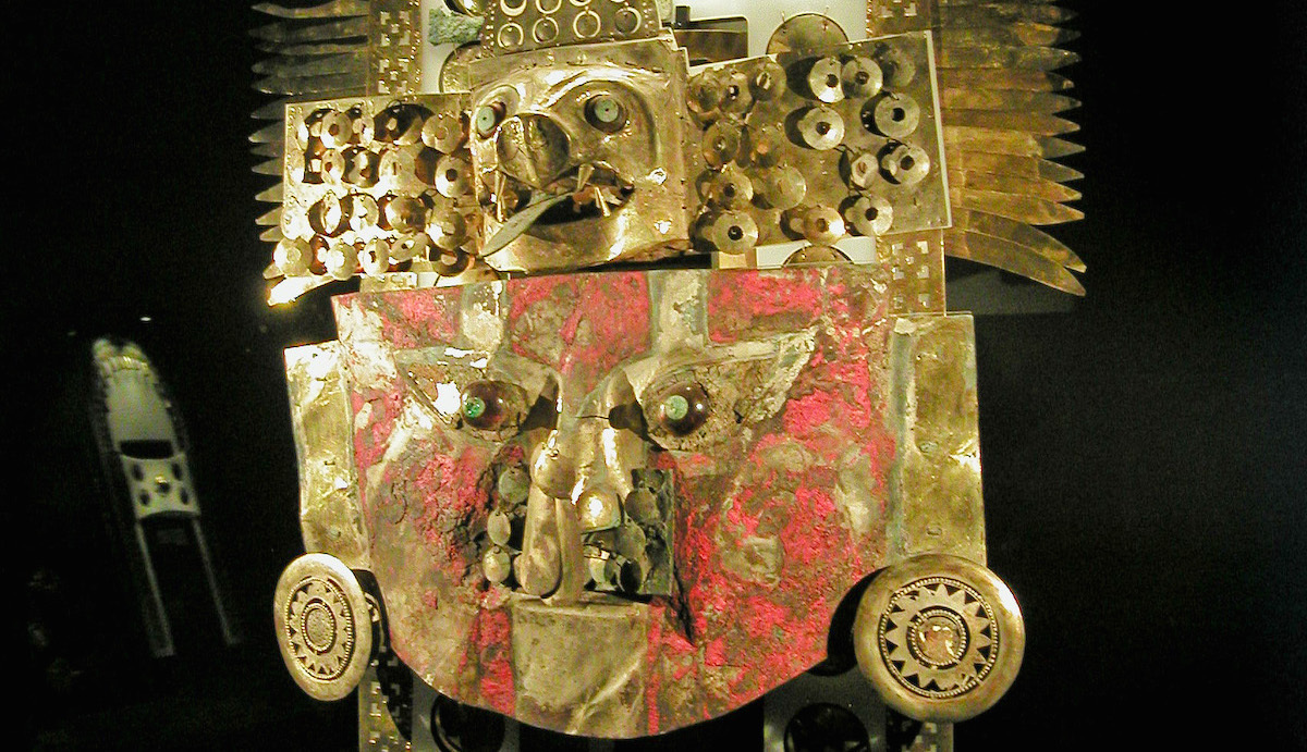 Gold mask from the Sipan culture, Peru