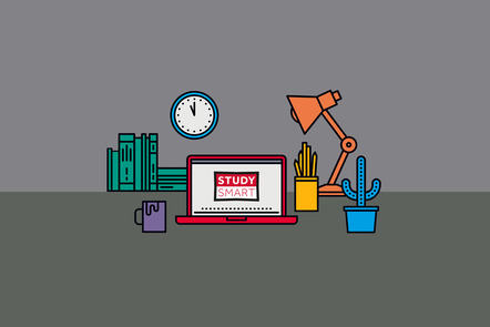 Graphic showing items typically found on a desk. Includes books, clock, lamp, cactus, pens, mug and laptop with the Study Smart logo.