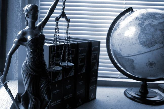 Lady Justice on a desk