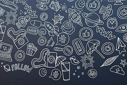 La imagen muestra muchos dibujos y algunas palabras y letras. Hay dibujos de hojas de un árbol, un ojo, una computadora, una cámara, un pájaro, el planeta Saturno, cohetes, una lupa, un reloj y un helado. Las palabras o letras son: follow, like y www.