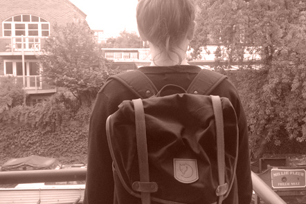 Girl wearing a backpack