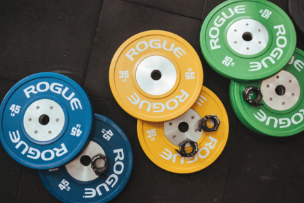 weight plates on the floor