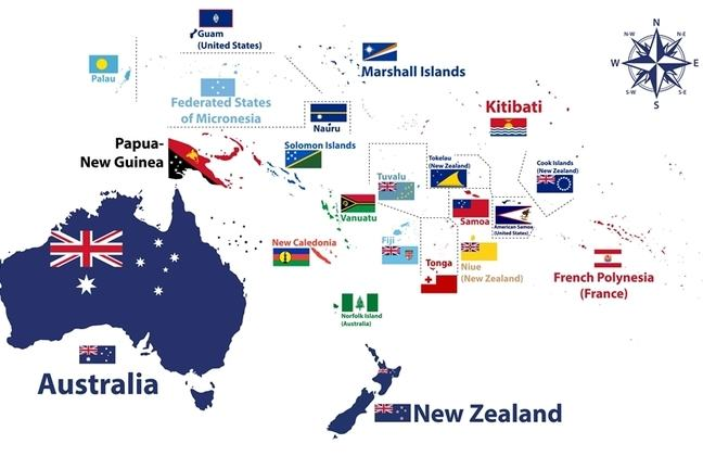 Map of Oceania Countries and their flags