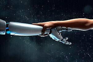 Robot and human arms, touching