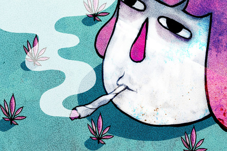 Illustration showing someone smoking cannabis