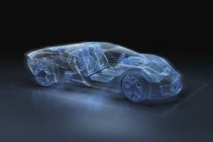 Computer generated image of blue, luxury sports car