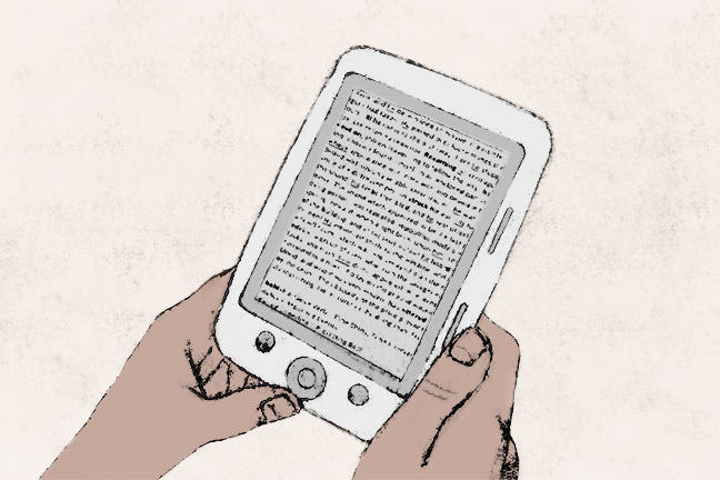 Hands holding an ebook reader